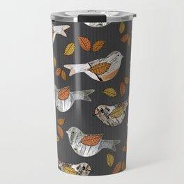 Graphic Birch Bark Birds and Fall Leaves Smokey Grey Stripe Travel Mug