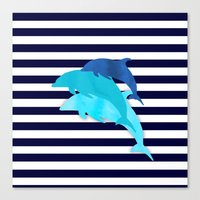 dolphins Canvas Prints featuring Dolphins by My Studio