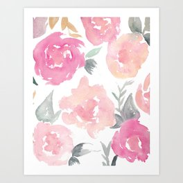 Muted Floral Watercolor Design  Art Print