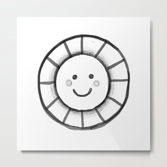 Sunny time smiley face Metal Print