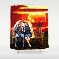 coca cola Shower Curtains featuring Nuke Cola by Luigi Tarini