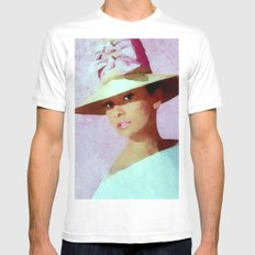 Audrey Hepburn Watercolour Portrait with hat MEDIUM Mens Fitted Tee White