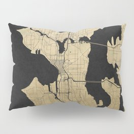 Seattle Black and Gold Street Map Pillow Sham
