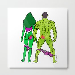 Superhero Butts Love 5 - Green Metal Print