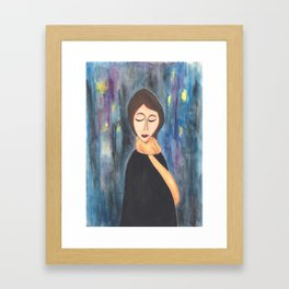 City Lights Girl Framed Art Print