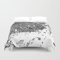 barcelona Duvet Covers featuring Barcelona by Maps Factory