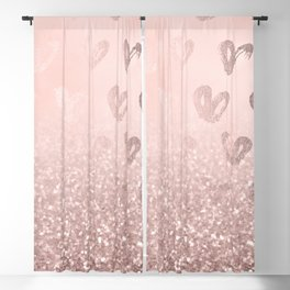 Rose Gold Sparkles on Pretty Blush Pink with Hearts Blackout Curtain