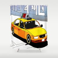 taxi driver Shower Curtains featuring Taxi by Jonas Ericson