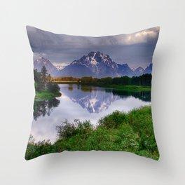 Mt. Moran at Oxbow Bend Throw Pillow
