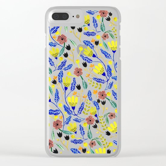 Graphic Floral Pattern Clear iPhone Case