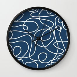 Doodle Line Art | White Lines on Petrol Blue Wall Clock