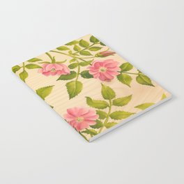 Pink Wild Rose on Wood Panel Notebook