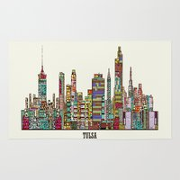 oklahoma Area & Throw Rugs featuring Tulsa oklahoma by bri.buckley