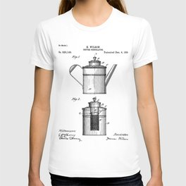 Coffee Patent - Coffee Shop Art - Black And White T-shirt