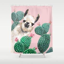 Llama and Cactus Pink Shower Curtain