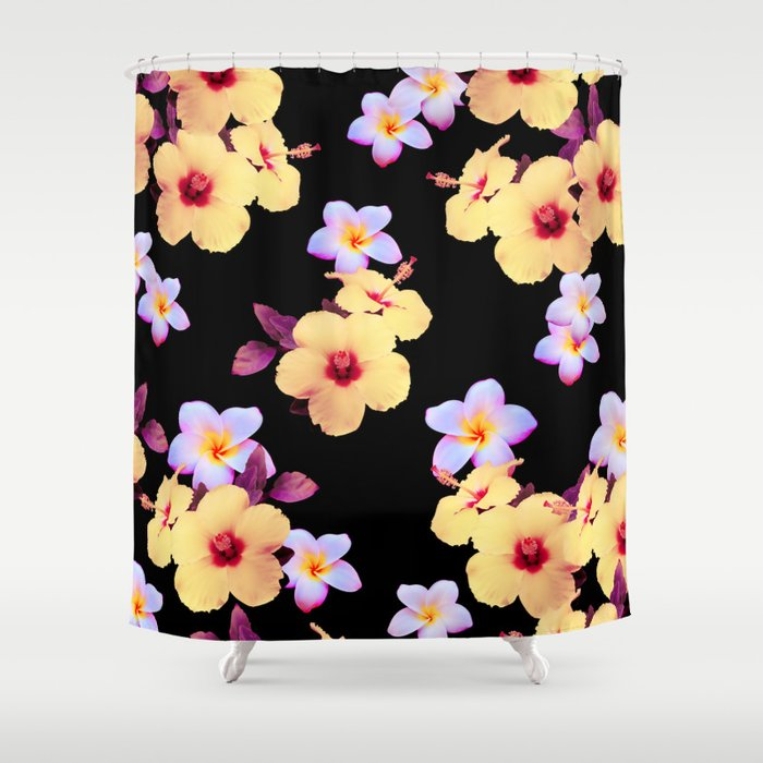 Hibiscus and Plumeria Shower Curtain