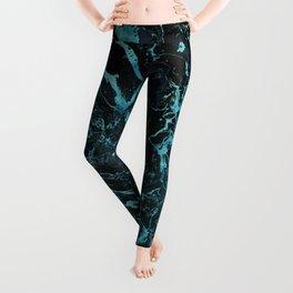 Black & Teal Color Marble Leggings