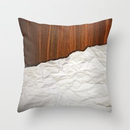 Wooden Crumbled Paper Throw Pillow