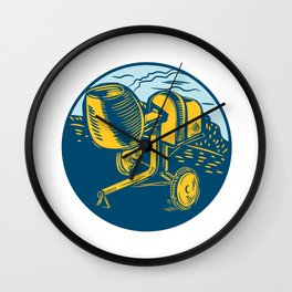 Concrete Mixer Circle Woodcut Wall Clock