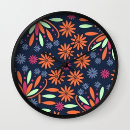 Floral contrast Wall Clock