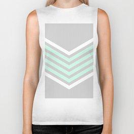 Mint & White Arrows Over Grey Stripes Biker Tank