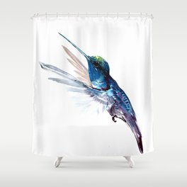 Hummingbird, Navy Blue Turquoise Artwork, minimalist bird art blue Shower Curtain
