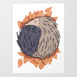 Hedgehog Yin Yang Art Print