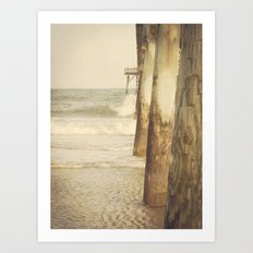Fishing Pier Surf City Beach Topsail Island NC Lomo Vintage Art Print