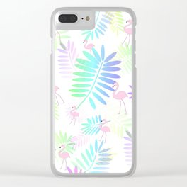 Tropical Pink Flamingos Clear iPhone Case