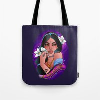 jasmine Tote Bags featuring Jasmine by Little Lost Forest