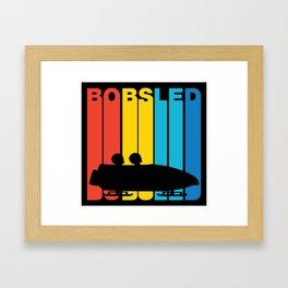 Retro Style Bobsled Bobsledding Winter Framed Art Print