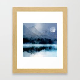 Mountainscape Under The Moonlight Framed Art Print