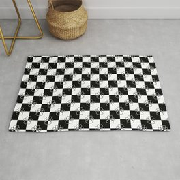 Black and White Checker Dog Paws Rug