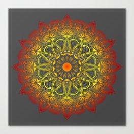Vivid Fire Watercolor Mandala Canvas Print
