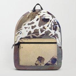 Fine art watercolor painting of giraffe at zoo.  Art painting of giraffe. Backpack