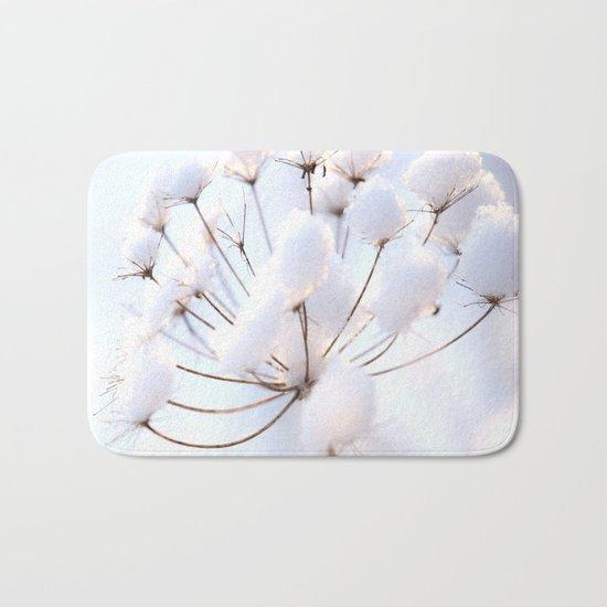 Snow covered dryflower Bath Mat