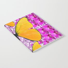 FUCHSIA COLORED  ORCHIDS &  YELLOW  BUTTERFLY FLORAL Notebook