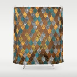 Rusty Ocean Golden Mermaid Scales HJYLE Shower Curtain