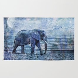 The Elephants Journey blue moon Rug