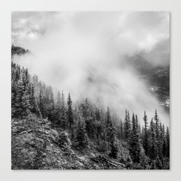 Fog in the Mountains | Black and White Photography | Landscape | black-and-white | bw Canvas Print