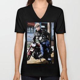 The WILD ONE - Marlon Brando - Triumph Motorcycle Poster Unisex V-Neck