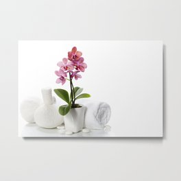spa composition with beautiful pink orchid Metal Print