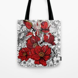 Boho Chic Red Poppy Flowers with Black and White Background Tote Bag