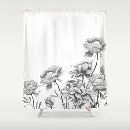 black and white peonies 2 Shower Curtain