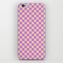 Deep Peach Orange and Lavender Violet Checkerboard iPhone Skin