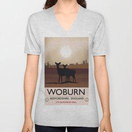 Woburn - Bedfordshire Vintage style travel poster. Unisex V-Neck