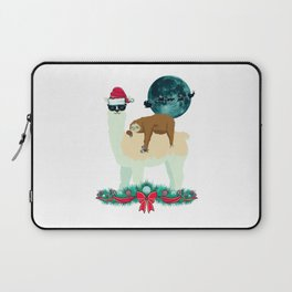 Llama Sloth Christmas Santa's Sleigh Silhouette In Front Of The Moon Laptop Sleeve
