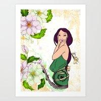 Exotic Lady Garden Art Print