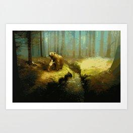 A Little Boy's Dreamscape (Painting) Art Print