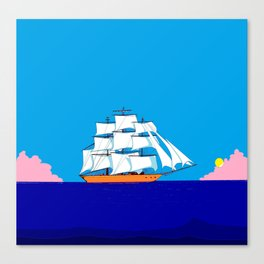 A Clipper Ship at Sunset, Pink clouds and Sun, Nautical Scene Canvas Print